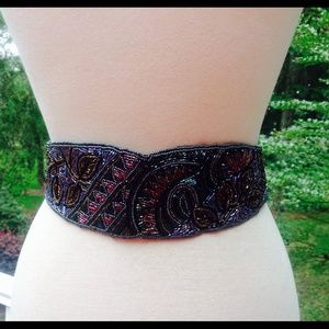 COPY - Vintage Black Gold Green Floral Beaded Wra…